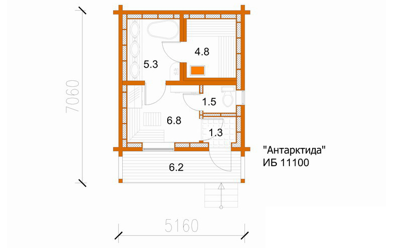 План-схема бани из клееного бруса