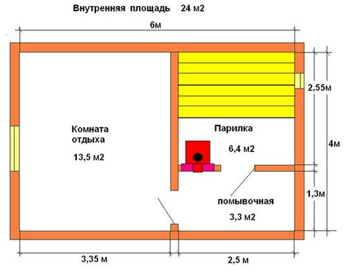 Схема современной бани