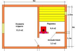 Схема стандартной бани 4х6 м