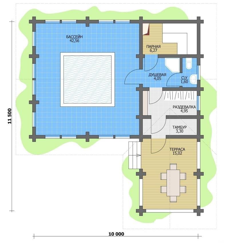 Проект бани с бассейном