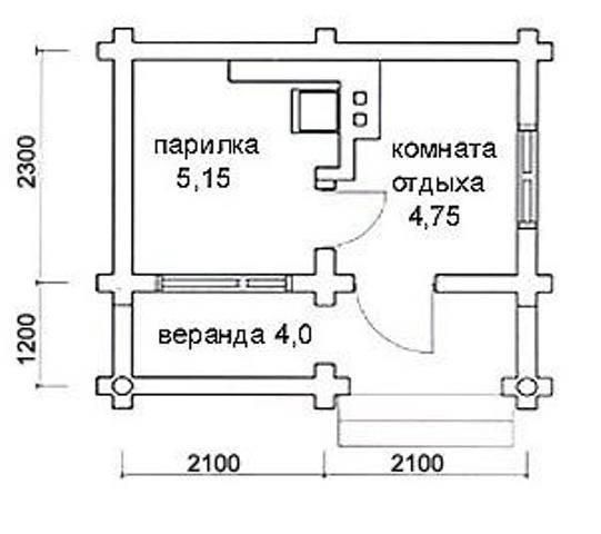 План бани с размерами