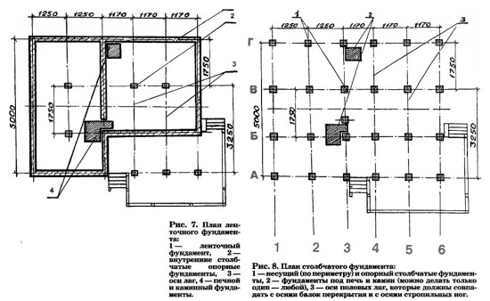 Проекты леточного и столбчатого фундаментов
