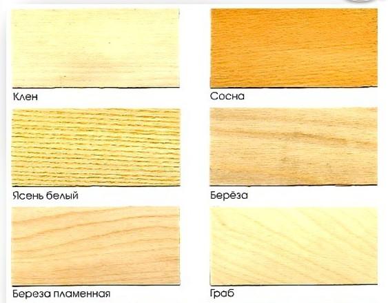 Некоторые виды дерева для бани