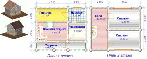 Планы этажей бани